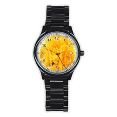 Yellow Neon Flowers Stainless Steel Round Watch by Simbadda