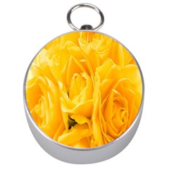 Yellow Neon Flowers Silver Compasses by Simbadda