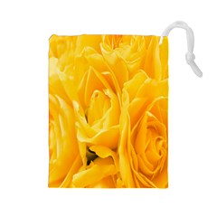 Yellow Neon Flowers Drawstring Pouches (large)  by Simbadda
