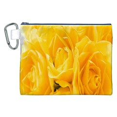 Yellow Neon Flowers Canvas Cosmetic Bag (xxl) by Simbadda
