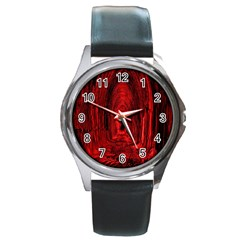 Tunnel Red Black Light Round Metal Watch by Simbadda