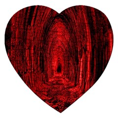 Tunnel Red Black Light Jigsaw Puzzle (heart) by Simbadda