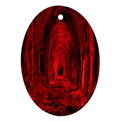 Tunnel Red Black Light Oval Ornament (two Sides) by Simbadda