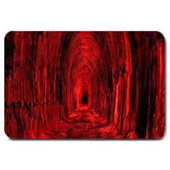 Tunnel Red Black Light Large Doormat  by Simbadda