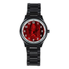 Tunnel Red Black Light Stainless Steel Round Watch by Simbadda