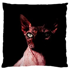 Sphynx Cat Large Flano Cushion Case (one Side) by Valentinaart
