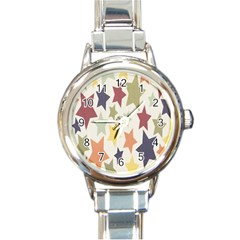 Star Colorful Surface Round Italian Charm Watch by Simbadda