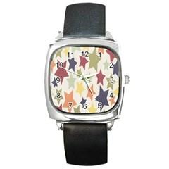 Star Colorful Surface Square Metal Watch by Simbadda