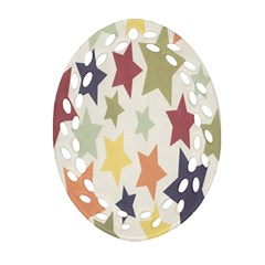 Star Colorful Surface Oval Filigree Ornament (two Sides) by Simbadda