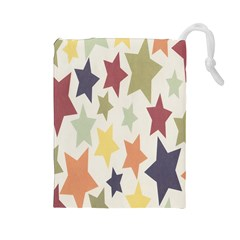Star Colorful Surface Drawstring Pouches (large)  by Simbadda