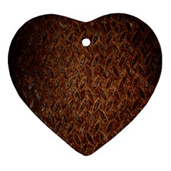 Texture Background Rust Surface Shape Heart Ornament (two Sides) by Simbadda