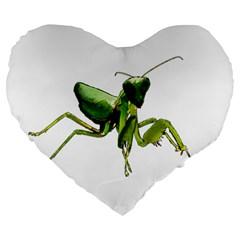Mantis Large 19  Premium Heart Shape Cushions by Valentinaart