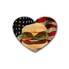 Hamburger Rubber Coaster (heart)  by Valentinaart