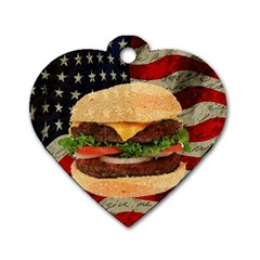 Hamburger Dog Tag Heart (two Sides) by Valentinaart