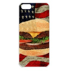 Hamburger Apple Iphone 5 Seamless Case (white) by Valentinaart