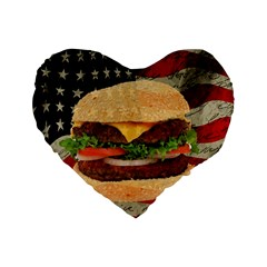 Hamburger Standard 16  Premium Heart Shape Cushions by Valentinaart