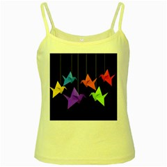 Paper Cranes Yellow Spaghetti Tank by Valentinaart