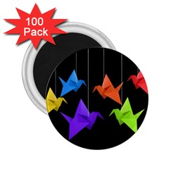 Paper Cranes 2 25  Magnets (100 Pack)  by Valentinaart