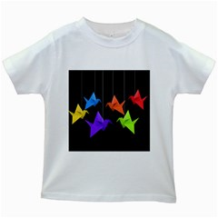 Paper Cranes Kids White T Shirts by Valentinaart