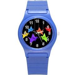 Paper Cranes Round Plastic Sport Watch (s) by Valentinaart