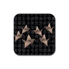 Paper Cranes Rubber Square Coaster (4 Pack)  by Valentinaart