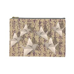 Paper Cranes Cosmetic Bag (large)  by Valentinaart