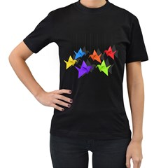 Paper Cranes Women s T Shirt (black) (two Sided) by Valentinaart