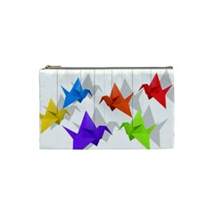 Paper Cranes Cosmetic Bag (small)  by Valentinaart