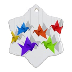 Paper Cranes Snowflake Ornament (two Sides) by Valentinaart