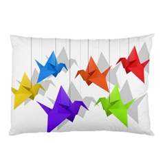 Paper Cranes Pillow Case (two Sides) by Valentinaart