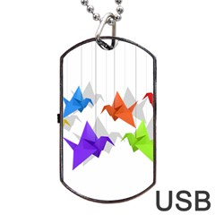 Paper Cranes Dog Tag Usb Flash (two Sides) by Valentinaart