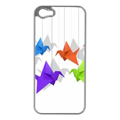 Paper Cranes Apple Iphone 5 Case (silver) by Valentinaart