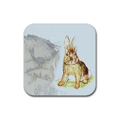 Rabbit  Rubber Square Coaster (4 Pack)  by Valentinaart
