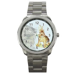 Rabbit  Sport Metal Watch by Valentinaart
