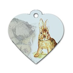 Rabbit  Dog Tag Heart (two Sides) by Valentinaart