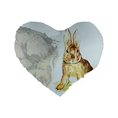 Rabbit  Standard 16  Premium Flano Heart Shape Cushions by Valentinaart