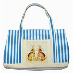 Rabbits  Striped Blue Tote Bag by Valentinaart