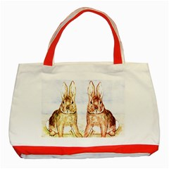 Rabbits  Classic Tote Bag (red) by Valentinaart