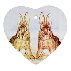 Rabbits  Heart Ornament (two Sides) by Valentinaart