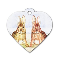 Rabbits  Dog Tag Heart (two Sides) by Valentinaart