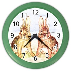 Rabbits  Color Wall Clocks by Valentinaart