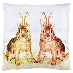 Rabbits  Large Cushion Case (two Sides) by Valentinaart