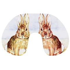Rabbits  Travel Neck Pillows by Valentinaart
