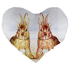 Rabbits  Large 19  Premium Flano Heart Shape Cushions by Valentinaart
