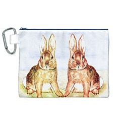 Rabbits  Canvas Cosmetic Bag (xl) by Valentinaart