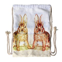 Rabbits  Drawstring Bag (large) by Valentinaart