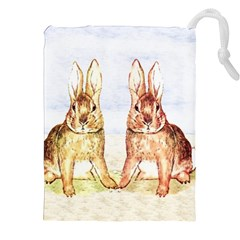 Rabbits  Drawstring Pouches (xxl) by Valentinaart
