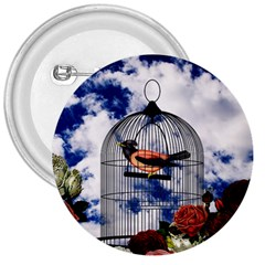 Vintage Bird In The Cage  3  Buttons by Valentinaart