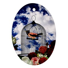 Vintage Bird In The Cage  Ornament (oval) by Valentinaart