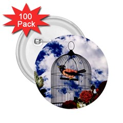Vintage Bird In The Cage  2 25  Buttons (100 Pack)  by Valentinaart